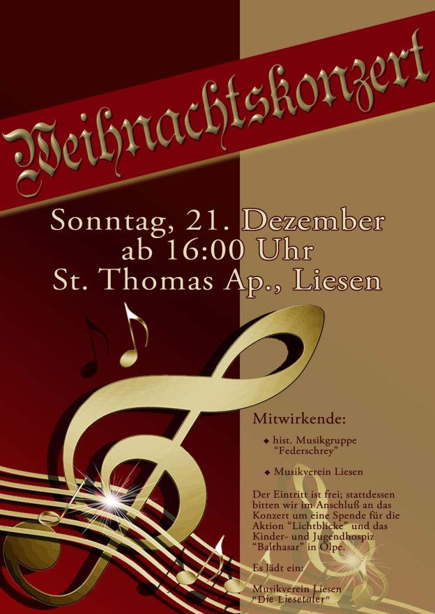 Am 21. Dezember, dem 4. Adventssonntag lädt der Musikverein ab 16 Uhr in die St. Thomas-Kirche in Liesen ein.